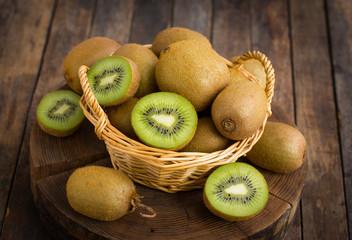 Fresh kiwi fruit in the basket
