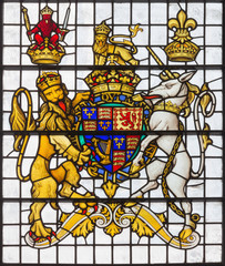LONDON, GREAT BRITAIN - SEPTEMBER 14, 2017: The England royal arms in church St. Edmund the King from 19. cent.