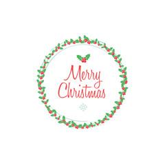 Merry Christmas Round Frame Wreath Flat Design