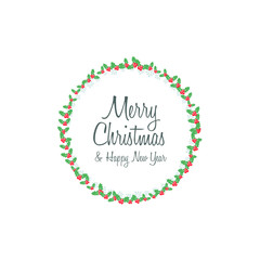 Merry Christmas & Happy New Year Round Frame Wreath Flat Design
