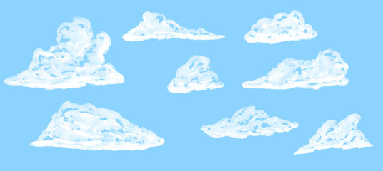 Set of cartoon clouds, isolated on blue background. Sketch elements drawn by marker.