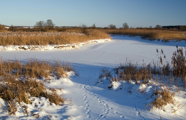 River covered with snow and ice between the reeds with traces of animals. Selective focus.
