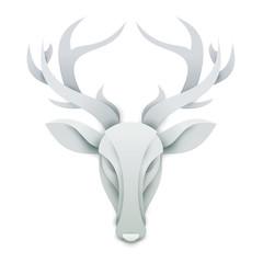 Head deer in trendy paper cut craft graphic style. Modern design for advertising, branding greeting card, cover, poster, banner. Vector illustration.