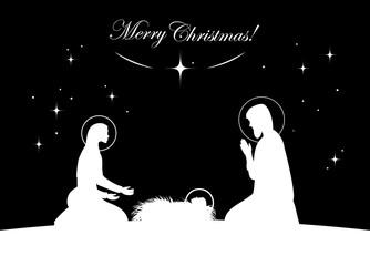 Nativity scene vector. White on black