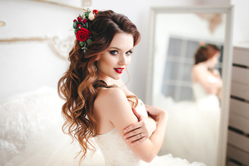 Beautiful bride portrait with bright make-up