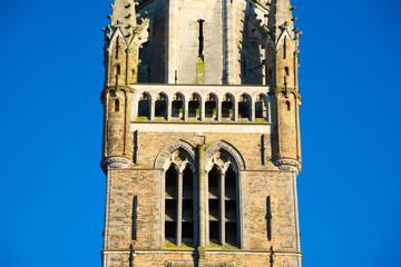 Detail of the Belfort van Bruges in the Grote Markt, Bruges, Belgium.