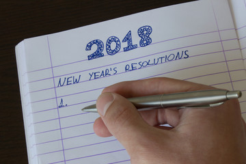 Hand Writing 2018 New Year's Resolution/Goals List - Motivational, Decision, Choice