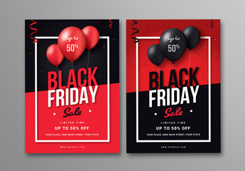 Black Friday Sale Flyer with Balloons in Two Layouts