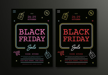 Black Friday Sale Flyer Layouts with Colorful Neon-Style Line Art