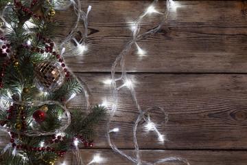 Christmas tree garland glows