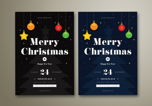 Christmas Party Flyer with Colorful Ornaments and Starry Background