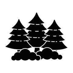 pine forest scene icon