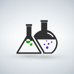 Chemical flasks vector icon
