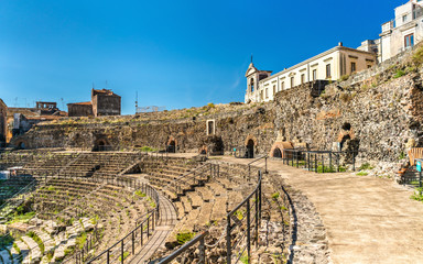 Greek-Roman Theatre of Catania in Sicilia, Italy