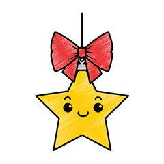 christmas star hanging kawaii character