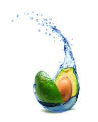 Avocado with fresh water splashes isolated on white background