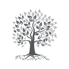Stylized Oak Tree with Roots Retro