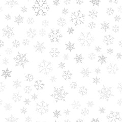 Festive Christmas background of snowflakes. For postcards, poster, invitation design for new year. Seamless pattern.