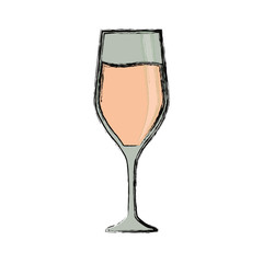 colored glass of champagne over white background  vector illustration