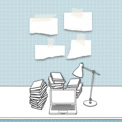 Blank ripped pieces of paper frames and sketch drawing of laptop, books and lamp