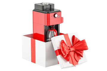Coffeemaker or coffee machine oven inside gift box, gift concept. 3D rendering
