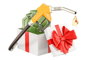Gas pump nozzle with jerrycan inside gift box, gift concept. 3D rendering