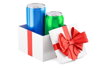 Gift box with drink metallic cans, 3D rendering