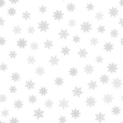 Seamless pattern. Christmas abstract background made of snowflakes on white. Design postcards, posters, greeting for the new year.
