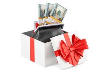 Purse with dollar packs inside gift box, 3D rendering