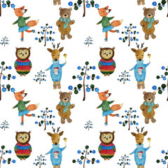 Winter woodland animals in sweaters pattern on white background