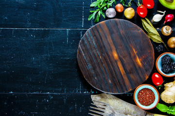 Food background on wood