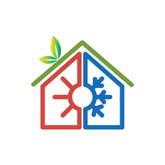 Hot and cool with home logo