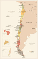 Chile - vintage map and flag - Detailed Vector Illustration