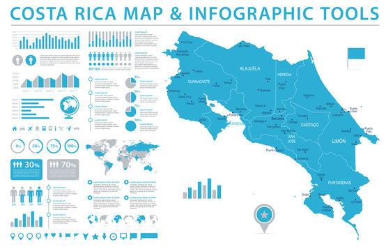 Costa Rica Map - Info Graphic Vector Illustration