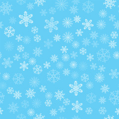 Christmas background of snowflakes. For posters, postcards, greeting for holiday, party, celebration, new year.