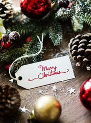 Closeup of Christmas wishing card tag