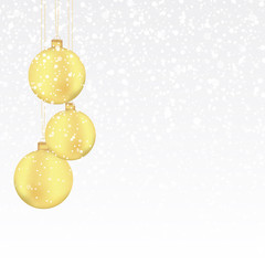 Christmas background with gold balls and snow. Vector Illustration.