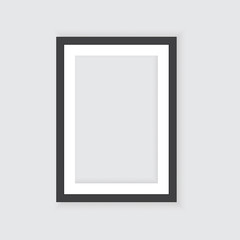 Realistic picture frame isolated on white background. Perfect for your presentations. Vector illustration.