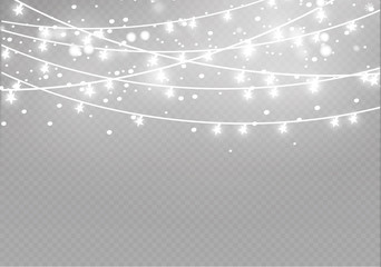 Christmas lights isolated on transparent background. Xmas glowing garland.Vector illustration Wall mural