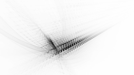 Abstract black and white background. Fractal graphics series. Three-dimensional composition of intersecting grids. Information technology concept.