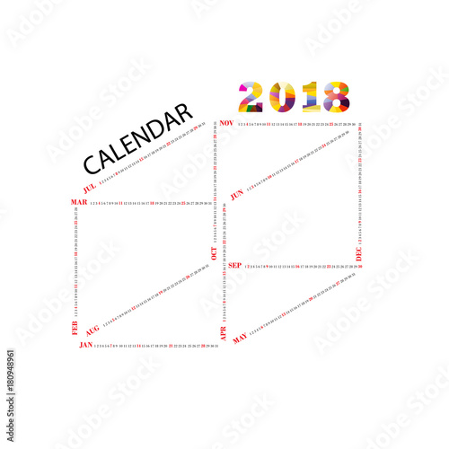 2018 calendar templatesquare shape calendaryearly calendar templatecalendar 2018 set of