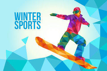 Snowboarding Poster Illustration in Low Polygon Style