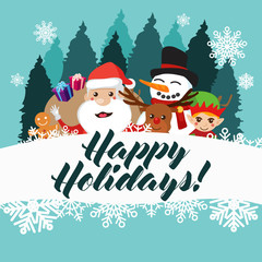 Happy Holidays Greeting Card Poster Illustration