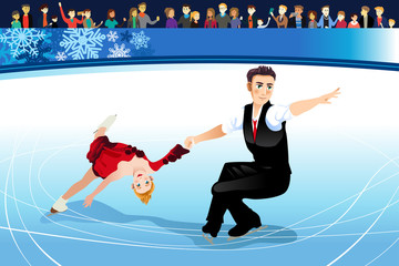 Figure Skating Athletes Competing Illustration