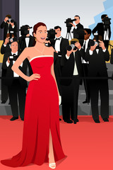 Beautiful Woman Going to a Red Carpet Event Illustration