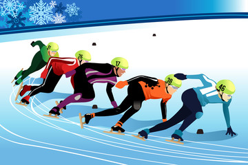 Speed Skating Athletes Competing Illustration