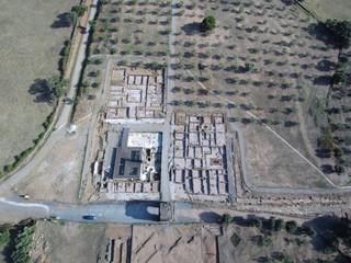 Caparra  desde el aire. Yacimiento ciudad romana en la provincia de Caceres ( Extremadura, España). Foto aerea