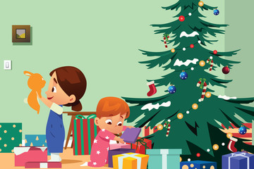 Children Opening Christmas Presents Illustration