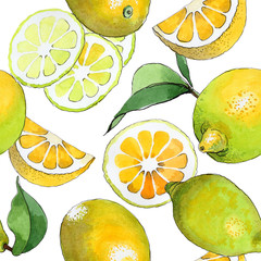 Exotic lemon healthy food pattern in a watercolor style. Full name of the fruit: lemon. Aquarelle wild fruit for background, texture, wrapper pattern or menu.