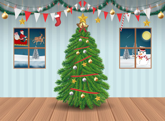 christmas tree in party room decorated background
